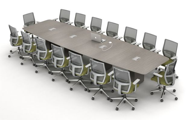 Calibrate Conferencing Four Base Table with Boat Shaped Top and Integrated Power and Data.  Shown with Devens Seating