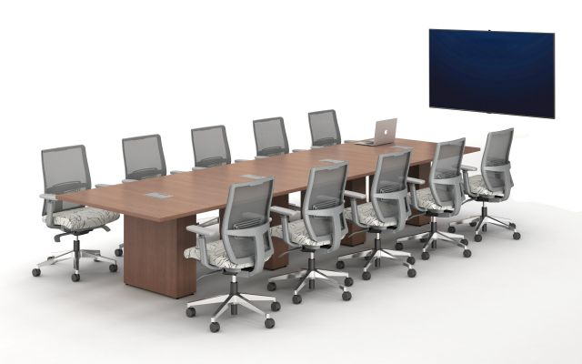 Calibrate Conferencing Four Base Table with Integrated Power.  Shown with Devens Task Seating.