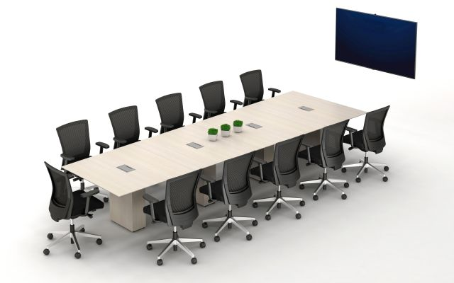 Calibrate Conferencing Four Base Table with Integrated Power and Data.  Shown with Upton Seating