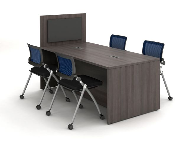 Calibrate Series Flush End Panel Conference Table, with extension for monitor mounting, power incorporated, with Stow Seating