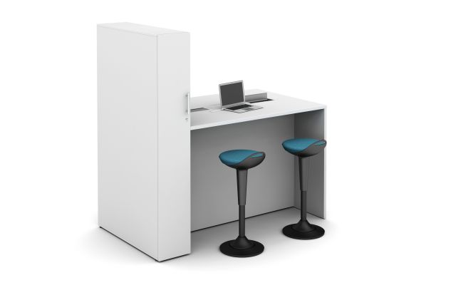 Calibrate Series Flush End Panel Conference Table with locker incorporated, Standing Height Power and Rutland Stools