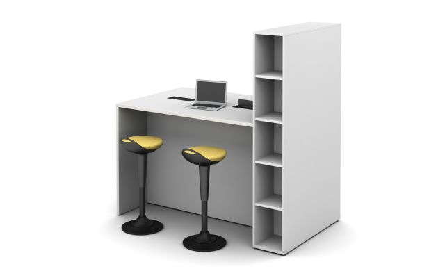 Calibrate Series Flush End Panel Conference Table with open locker incorporated and Rutland Perch Stools