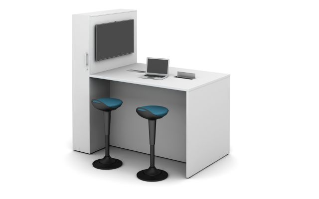 Calibrate Conference Panel End with locker incorporated with standing height power, monitor and Rutland Perch Stools