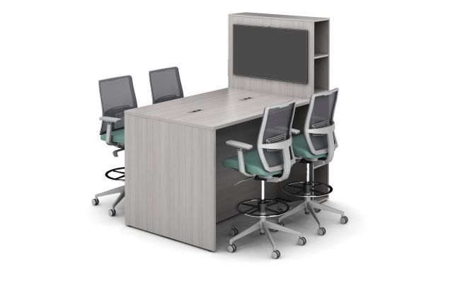 Calibrate Flush End Panel Conference table with Locker for Monitor Mounting, Devens Stool Seating