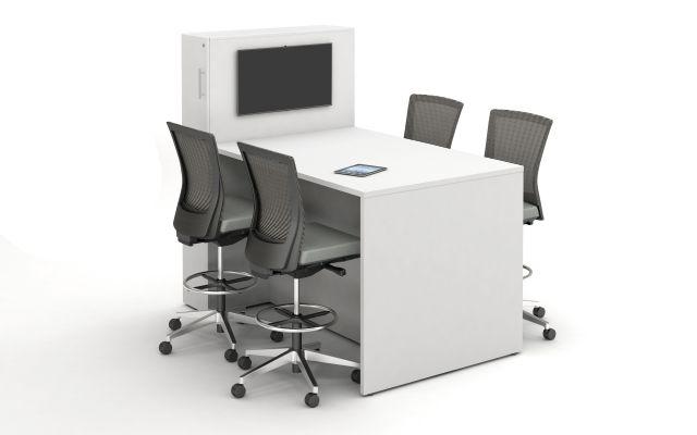 Calibrate Series Flush End Panel Conference Table, locker incorporated, ideal for monitor mounting, standing height; shown with Upton Stools