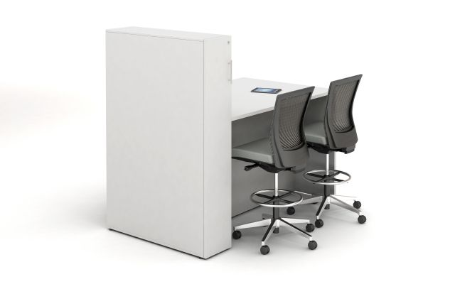 Calibrate Series Flush End Panel Conference Table, Locker incorporated, ideal for monitor mounting, standing height, back view;shown with Upton Stools