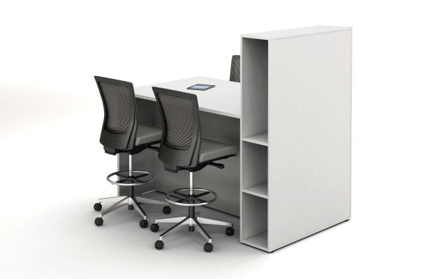 Calibrate Conferencing Standing Height Table with storage-incorporated Panel End ideal for monitor mounting; back left view; shown with Upton Stools