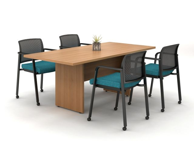 Calibrate Conferencing with Recessed End Panel Base and Half Modesty; shown with Paxton side seating