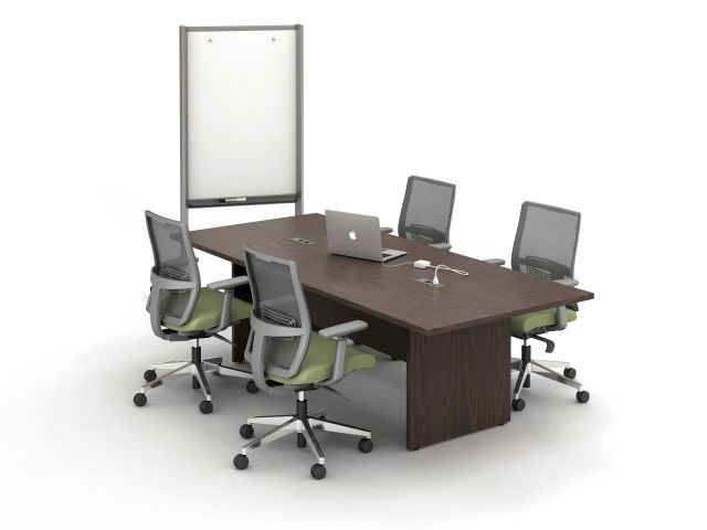 Calibrate Conferencing with recessed panel base, with power and data; shown with Devens seating and Mobile Whiteboard
