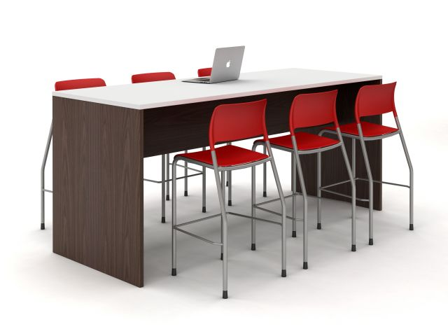 Calibrate Standing Height Table with Half Modesty Panel and Red Pierce Stools