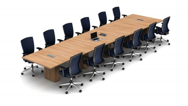 Calibrate Five Piece Conference Table and Natick Seating