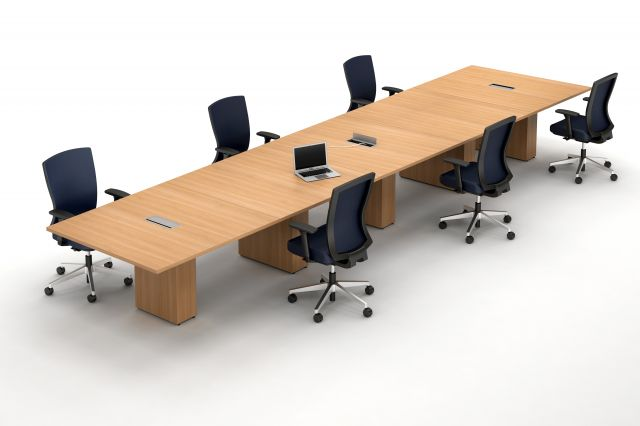 Calibrate Five Piece Conference Table and Natick Seating in a socially distanced setting
