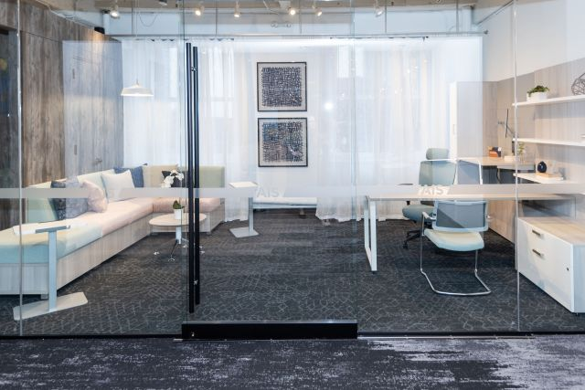 NeoCon 2021 Calibrate Casegoods Private Office with L Shelves, O Leg Desk and LB Lounge