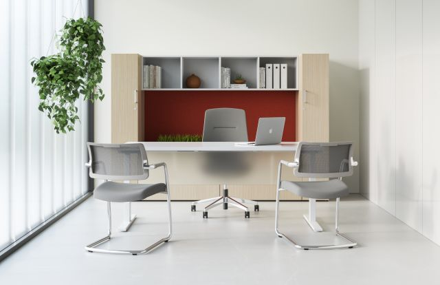 Calibrate Laminate Casegoods with Frosted Glass Modesty, Auburn Executive and Devens Side Seating