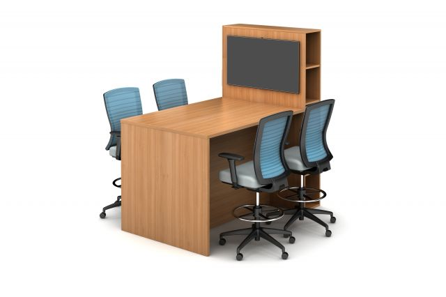 Calibrate Series Flush End Panel Conference Table, with locker for monitor mounting, standing height,. shown with Natick Stools