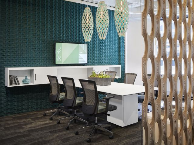 Calibrate Conference Table, Custom Wall Credenza with Upton Task Seating