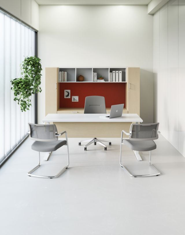 Calibrate Laminate Casegoods including Day-to-Day Height Adjustable Table with Laminate Modesty, Auburn Executive and Devens Side Seating, Vertical View