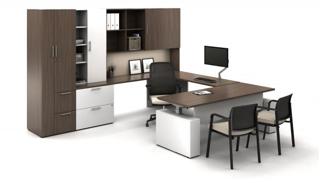 Calibrate Series Casegoods Private Office with Height Adjustable Desk, Bolton Task Seating, Paxton Side Seating