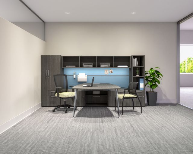 Calibrate Series Casegoods Private Office with Table Run off, Natick and Grafton Seating