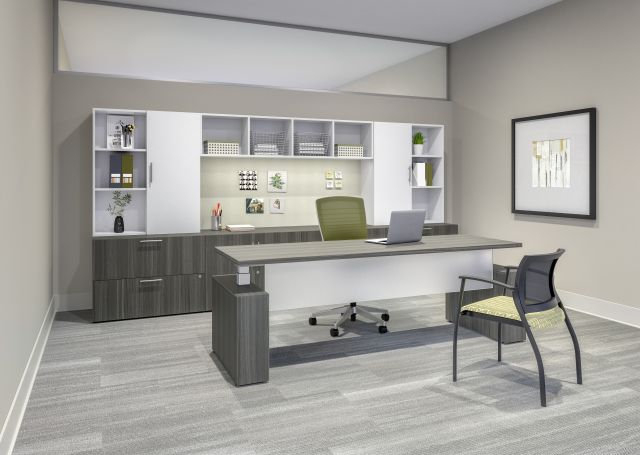 Calibrate Series Casegoods Private Office with Height Adjustable Desk, Natick Task Seating and Grafton Side Seating