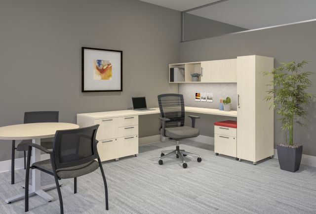 Calibrate Series Casegoods Private Office with Table, Natick Task Seating and Grafton Side Seating