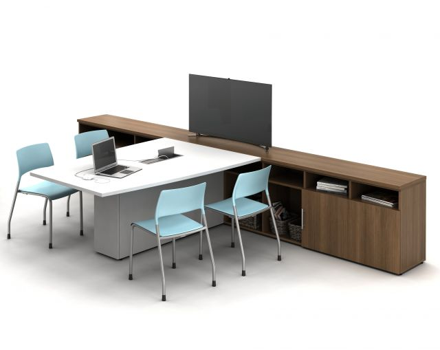 Calibrate Conferencing Table with Pierce Seating and Calibrate Storage Credenza