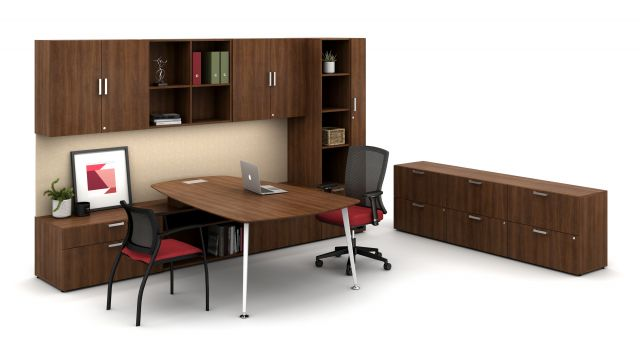 Laminate Spotlight:Dark Rum Cherry on Calibrate Series Casegoods Private Office with Pebble Top Desk, Natick Seating, Grafton Side Seating