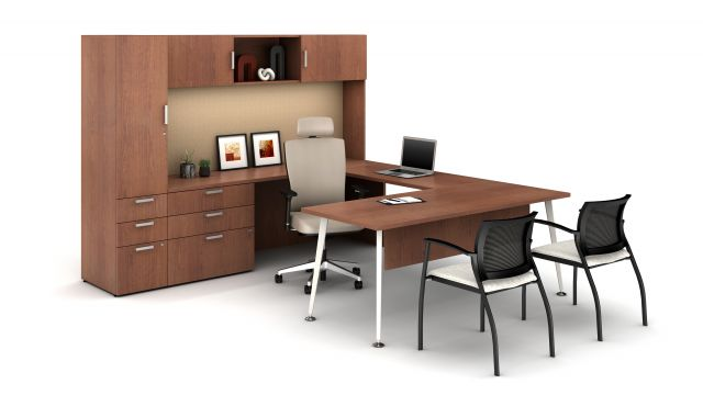 Laminate Spotlight: Grand Cherry on Calibrate Series Casegoods Private Office with Natick Executive Seating, Grafton Side Seating