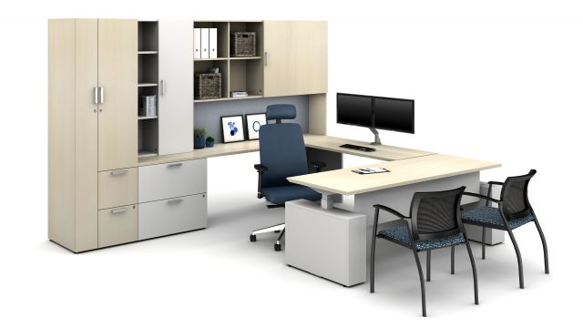 Laminate Spotlight: Leave Likatre on Calibrate Series Casegoods Private Office with Natick Executive Seating, Grafton Side Seating