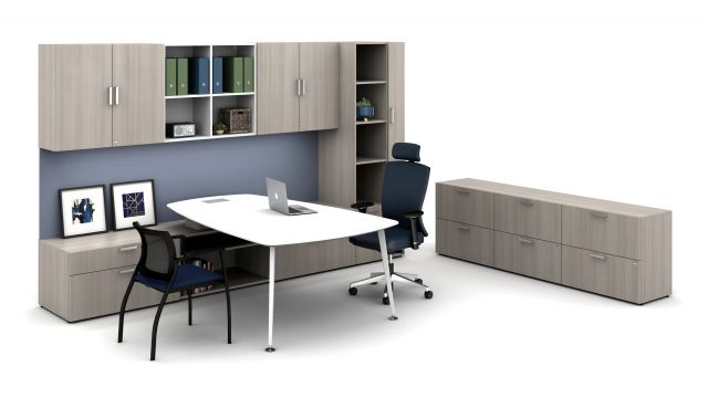 Laminate Spotlight: Looks Likatre on Calibrate Series Casegoods Private Office with Pebble Top Desk, Natick Executive Seating, Grafton Side Seating