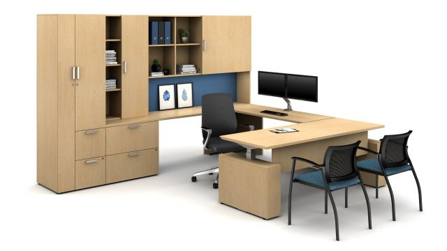 Laminate Spotlight: Midwest Maple on Calibrate Series Casegoods Private Office with Height Adjustable Desk, Auburn Executive Seating, Grafton Side Seating