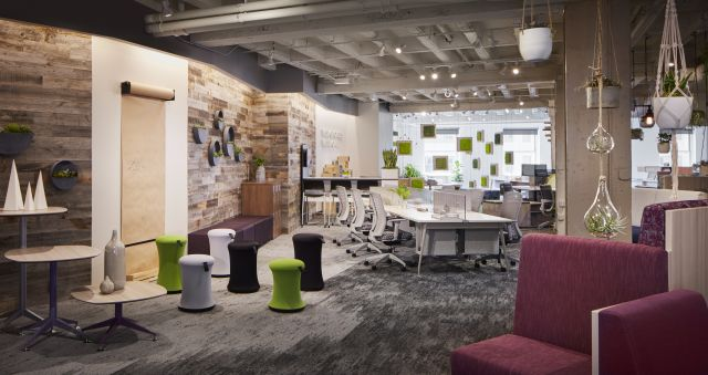 NeoCon 18 Chicago Showroom with LB Lounge, Day to Day Tables, Sulli Stools and Oxygen Desking with Natick Task Seating