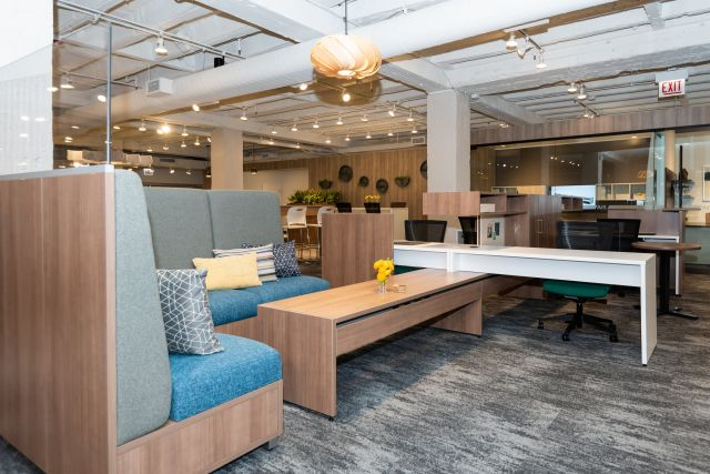 NeoCon 2021: Calibrate Community floating worksurfaces and cantilevered overheads, LB Lounge and Devens Seating