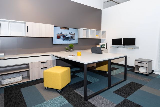 NeoCon 2021 Calibrate Community Shared Office with Sliding O-Leg tables, Tables together
