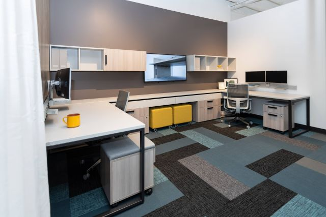 NeoCon 2021 Calibrate Community Shared Office with Sliding O-Leg tables, Tables apart