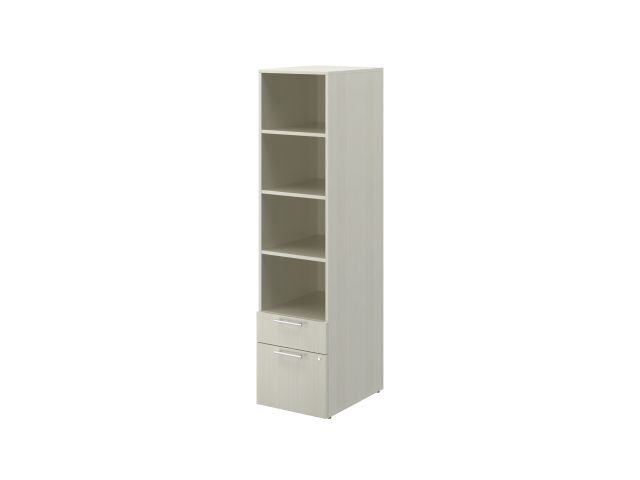 Calibrate B/F Storage with Bookcase on glides, shown in White Chocolate
