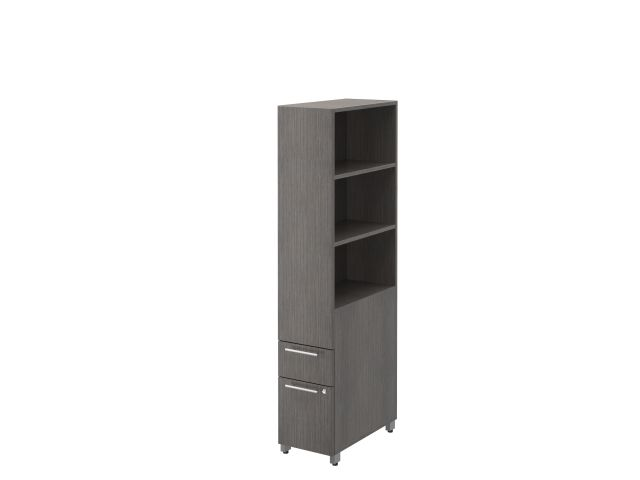 Calibrate Storage Pedestal Tower with Open Bookcase 66x12
