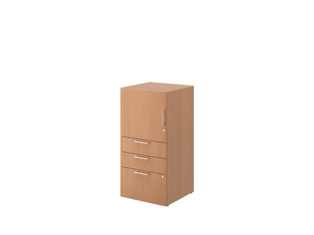 Calibrate B/B/F Storage Tower with door on glides, shown in Recon Oak