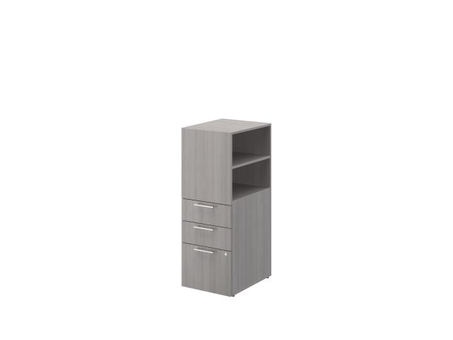 Calibrate Storage B/B/F Tower with open side bookcase on glides, shown in Looks Likatre