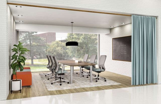 Day to Day Casual Meeting Space with Square Post Table and Natick Seating