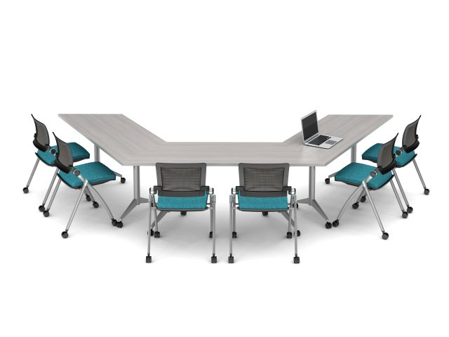 Day To Day Ideastarter with Trapezoid Top and Aluminum T-Base with Casters; shown with Stow Multi-purpose Seating