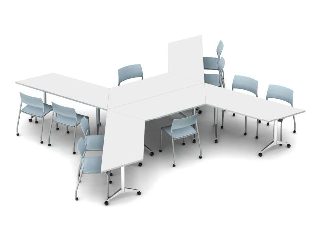 Day to Day Tables Idea Starter: Trapezoid Top, Aluminum T-Base with Caster; shown with Pierce Side Seating