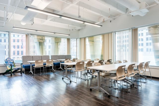 Client Cafe Space with Day-to-Day mobile tables, LB Lounge Seating and Triad Stack Seating