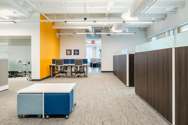 Client Space with Matrix Panel System, Volker Seating and table, Aloft Benching System with Devens Seating
