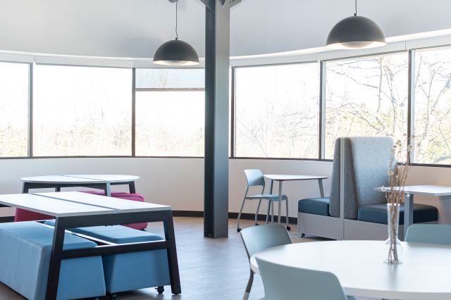 Cafe at AIS Headquarters with LB Lounge, Day-to-Day Tables and Eko Seating and Tables