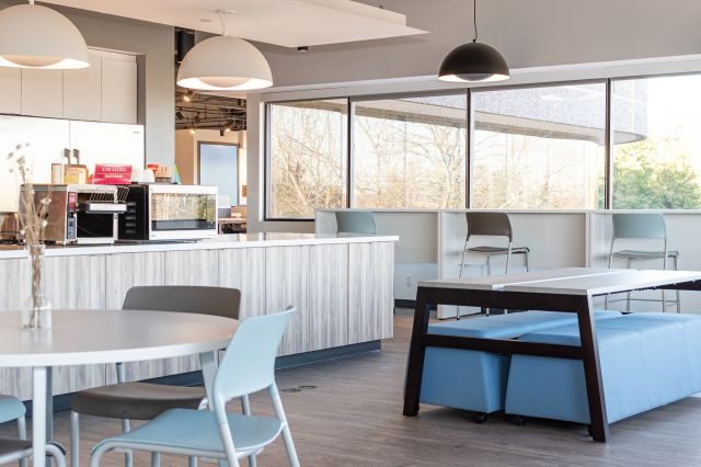Cafe at AIS Headquarters with Pierce Seating, Day-to-Day Tables and Eko Seating and Tables