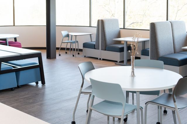 Cafe at AIS Headquarters with Day-to-Day Tables, Pierce Seating and LB Lounge
