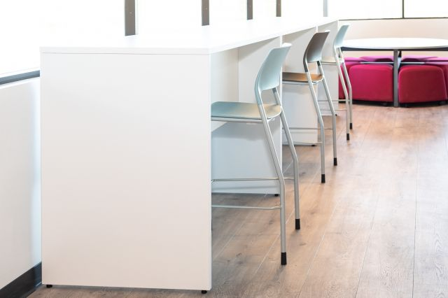 Calibrate Conferencing End Tables in Cafe Setting with Pierce Stools