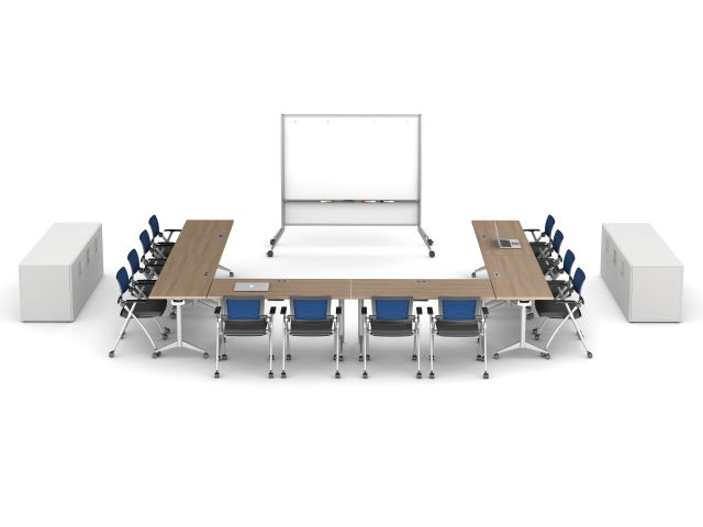 Day to Day with T-Legs, Stow Seating, Mobile Whiteboard and Calibrate Buffet
