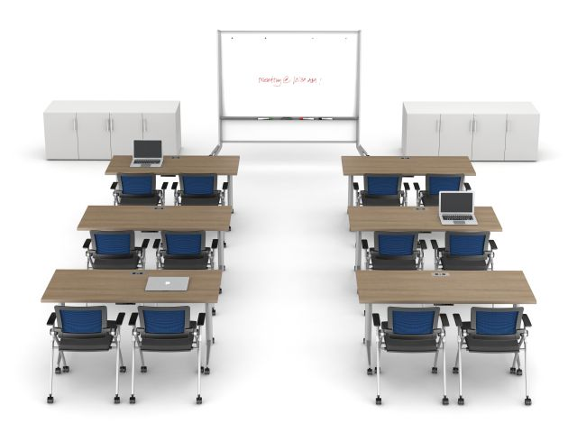 Day to Day Tables with T-Legs, Stow Seating, Mobile Whiteboard, and Calibrate Storage